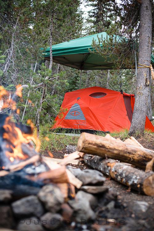 Camping at Mazama Campground, Crater Lake, Oregon.