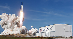 February 6, 2018 - Cape Canaveral, Florida, U.S. - The SpaceX Falcon Heavy blasts off from Pad 39A at the Kennedy Space Center in Florida on its demonstration mission carrying CEO Elon Musk's cherry red Tesla roadster toward an orbit near Mars. (Credit Image: © Gene Blevins via ZUMA Wire)