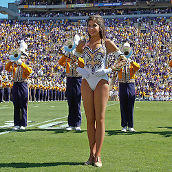 October 1, 2011; Baton Rouge, LA, USA;  The LSU Tigers Golden Girls perform with the Tiger Marching Band prior to kickoff of a game against the Kentucky Wildcats at Tiger Stadium.  Mandatory Credit: Derick E. Hingle-US PRESSWIRE / © Derick E. Hingle 2011