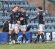 Greg Stewart is congratulated by David Clarkson, Alex Harris and Paul McGowan after scoring -  Dundee v Motherwell, SPFL Premiership at Dens Park <br /> <br /> <br />  - &copy; David Young - www.davidyoungphoto.co.uk - email: davidyoungphoto@gmail.com