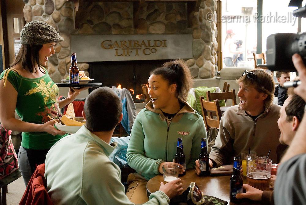 Apres ski group at the Garbaldi Lift Company, bar in Whistler BC