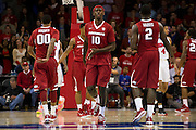 DALLAS, TX - NOVEMBER 25: Bobby Portis #10 of the Arkansas Razorbacks celebrates after a made basket against the SMU Mustangs on November 25, 2014 at Moody Coliseum in Dallas, Texas.  (Photo by Cooper Neill/Getty Images) *** Local Caption *** Bobby Portis