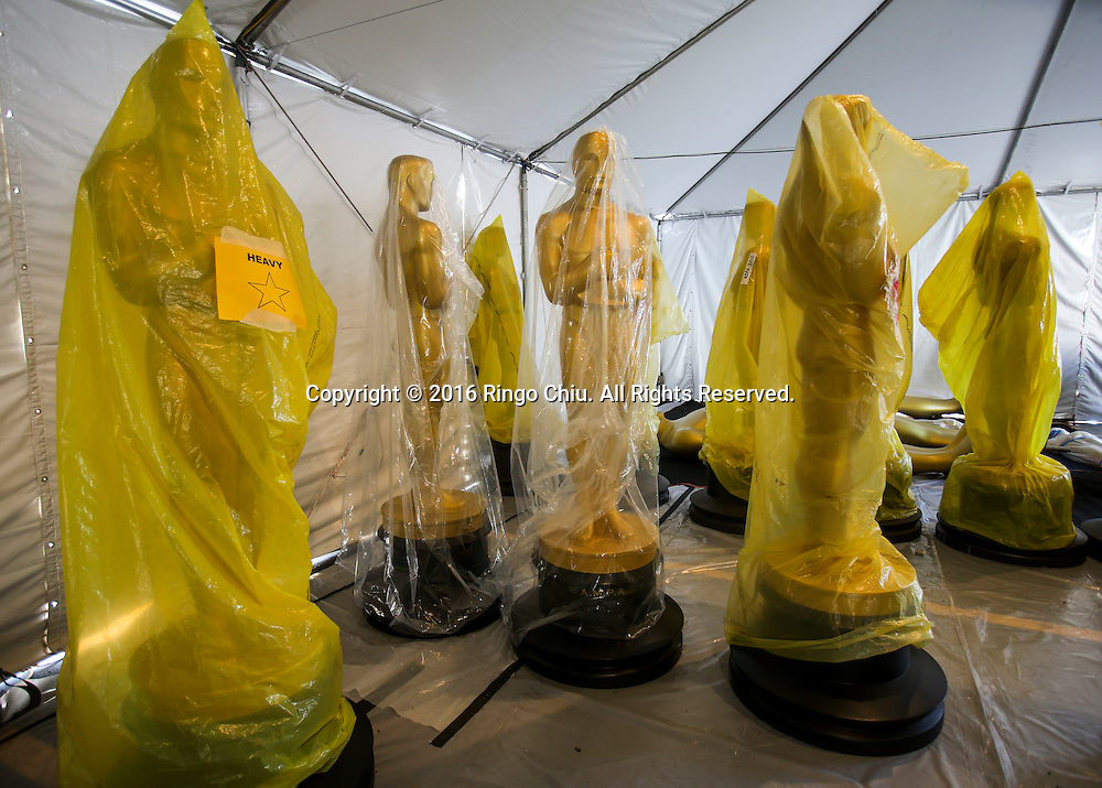Oscar statues wrapped in a plastic bag are seen at a Hollywood back lot near the Dolby Theatre Feb. 25, 2016 in Los Angeles. The 88th Academy Awards will be held Sunday, February 28, 2016. (Photo by Ringo Chiu/PHOTOFORMULA.com)<br /> <br /> Usage Notes: This content is intended for editorial use only. For other uses, additional clearances may be required.
