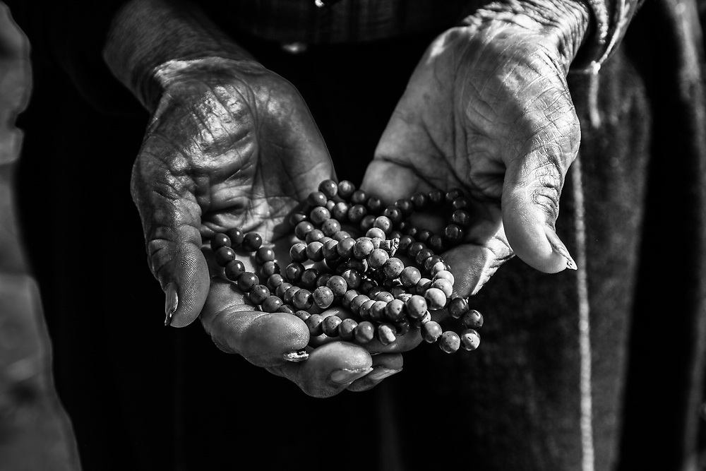 Hands of an old woman in Bhutan