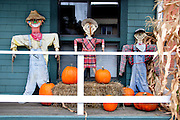 USA, Idaho, McCall, Autumn Harvest Decoration in front of a small business