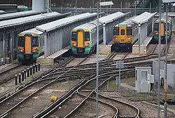 © Licensed to London News Pictures. 10/01/2017. London, UK. Trains are laid up at Southern Rail's Selhurst train depot in south London. A second round of strikes by Southern Rail train drivers has begun. Photo credit: Peter Macdiarmid/LNP