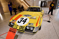 "© Licensed to London News Pictures. 14/11/2017. London, UK.  A Ferrari 365 GTB/4 ""Daytona"", 1973. Preview of ""Ferrari: Under the Skin"", an exhibition at the Design Museum to mark the 70th anniversary of Ferrari.  Over GBP140m worth of Ferraris are on display from private collections including Michael Schumacher's 2000 F1 winning car.  The exhibition runs 15 November to 15 April 2018.  Photo credit: Stephen Chung/LNP"