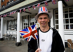 LOCATION, UK  29/04/2011. The Royal Wedding of HRH Prince William to Kate Middleton. ..Sean Bird from Marlborough gets into the spirit of the occasion in Marlborough.....Photo credit should read Ian Forsyth/LNP. Please see special instructions. © under license to London News Pictures