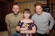Sophie Purves, Monifieth Ladies 13s coach's player of the year pictured with Dundee United's Lewis Toshney and Simon Murray at  Monifieth Ladies presentation evening at the Panmure Hotel, Monifieth - Photo: David Young, <br /> <br />  - &copy; David Young - www.davidyoungphoto.co.uk - email: davidyoungphoto@gmail.com