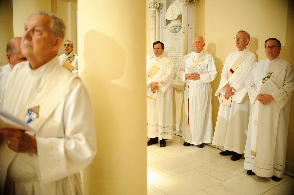 (photo by Matt Roth).Assignment ID: 10127747A...Deacons line the wall during Mass at the Baltimore's historic Basilica of the National Shrine of the Assumption of the Blessed Virgin Mary Wednesday, June 20, 2012. The Mass opens the Fortnight For Freedom..