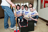 "20/01/2013 repro free The National final of the FIRST LEGO LEAGUE Championship 2013 took place in Galway at the weekend ?Senior Solutions"" was the global theme for this year's challenge with students being asked to design a project which might improve the quality of life for seniors by helping them continue to be independent, engaged, and connected in their communities. From St. Gerald's Castlebar were Shane McCormick, Ciaran McManamon, Cian Ruan,  Chris Gainley, and Conor Murray with their Step-aid  . Picture :Andrew Downes."