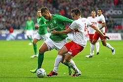 27.11.2011, Weser Stadion, Bremen, GER, 1.FBL, Werder Bremen vs VFB Stuttgart, im Bild Marko Arnautovic (SV Werder Bremen) im Zweikampf mit William Kvist (VfB Stuttgart) // during the Match GER, 1.FBL, Werder Bremen vs VFB Stuttgart, Weser Stadion, Bremen, Germany, on 2011/11/27EXPA Pictures © 2011, PhotoCredit: EXPA/ nph/ SielskiSielski..***** ATTENTION - OUT OF GER, CRO *****