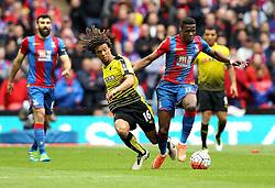 Nathan Ake of Watford is tackled by Wilfried Zaha of Crystal Palace - Mandatory by-line: Robbie Stephenson/JMP - 24/04/2016 - FOOTBALL - Wembley Stadium - London, England - Crystal Palace v Watford - The Emirates FA Cup Semi-Final