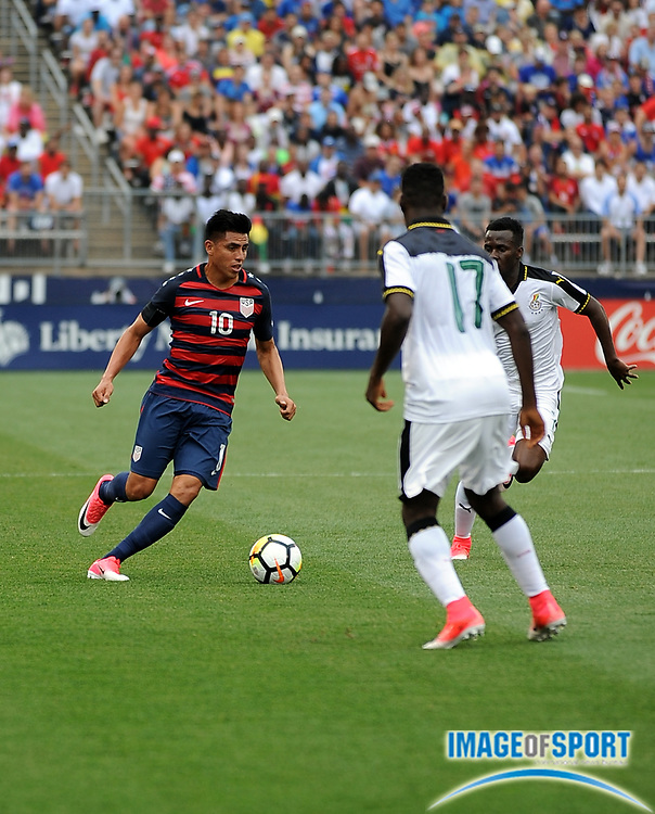Jul 1, 2017; East Hartford, CT, USA; United States midfielder Joe Corona (10) during a friendly match with Ghana in East Hartford, CT at Rentschler Field. USA defeated Ghana 2 to 1. Photo by Reuben Canales