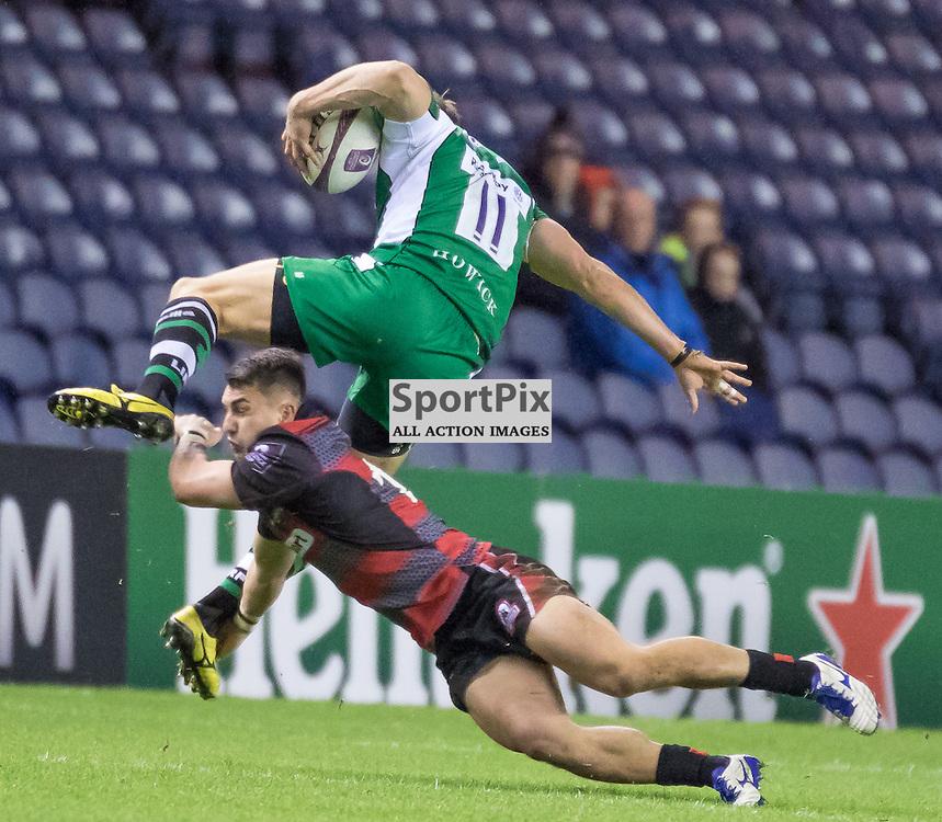 London Irish #11 Andrew Fenby is tackled by Edinburgh #14 Damien Hoyland. Edinburgh Rugby v London Irish, 18th December 2015