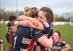 Abbie Parsons and Sydney Gregson of Bristol Ladies celebrate their win- Mandatory by-line: Paul Knight/JMP - 03/02/2018 - RUGBY - Cleve RFC - Bristol, England - Bristol Ladies v Harlequins Ladies - Tyrrells Premier 15s