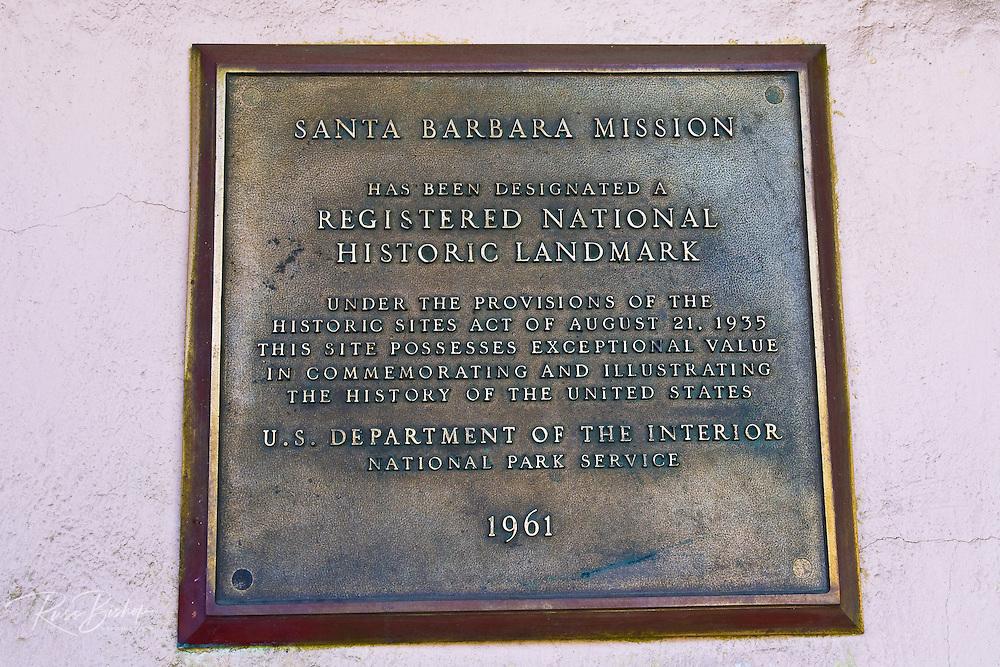 Historic plaque at the Santa Barbara Mission (Queen of the missions), Santa Barbara, California