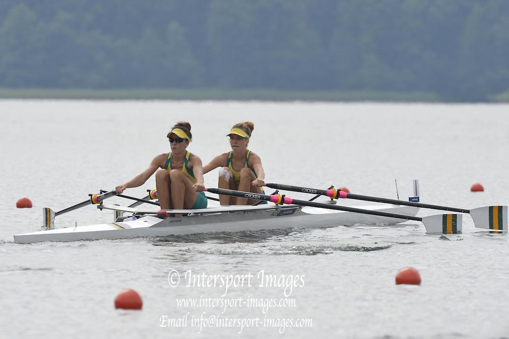 Trackai. LITHUANIA.  AUS BLW2X. Bow Thea ADAMSON and Hannah JANSEN. 2012 FISA U23 Rowing Championships, Lake Galve.   11:29:08 Thursday 12/07/2012 [Mandatory credit: Peter Spurrier/Intersport Images]..Rowing, U23, 2012.
