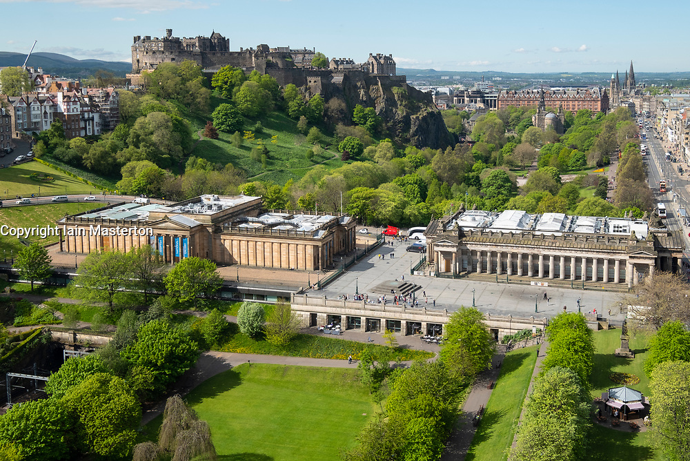Skyline of Princes Street Gardens, The Scottish National Gallery (L) and the Royal Scottish Academy (R)  in Edinburgh, Scotland, UK