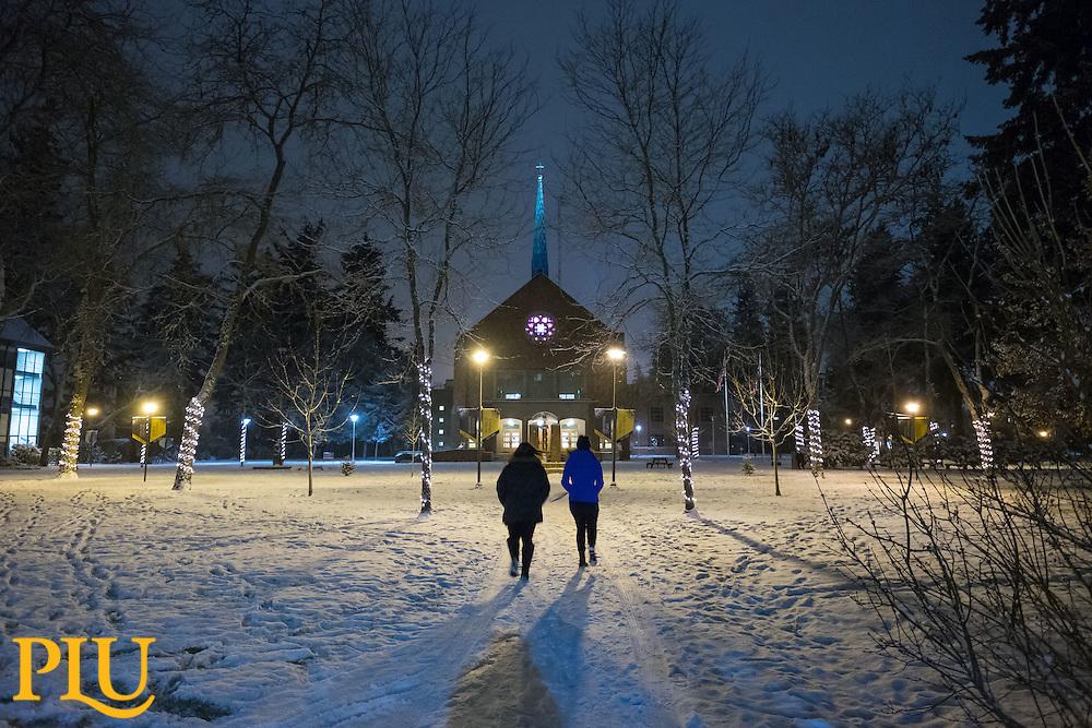 Snowy evening at PLU, Thursday, Dec. 8, 2016. (Photo: John Froschauer/PLU)
