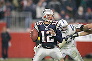 FOXBORO, MA - JANUARY 16: Tom Brady #12 of the New England Patriots in action during the AFC Divisional Playoff game against the Indianapolis Colts on January 16, 2005 in Foxboro, Massachusetts. The Patriots defeated the Colts 20-3. (Photo by Joe Robbins)