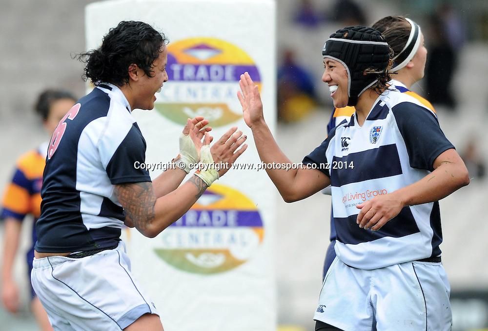 Auckland's Kelvery Longopoa and Justine Lavea celebrate a try in the Women's NPC rugby match, Bay of Plenty Volcanix vs Auckland, Rotorua International Stadium, Rotorua, September 13, 2014. Photo: Kerry Marshall / photosport.co.nz