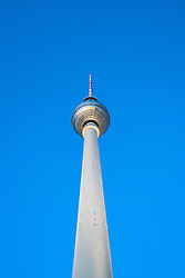View of Television Tower, Fernsehturm , at Alexanderplatz in Berlin, Germany