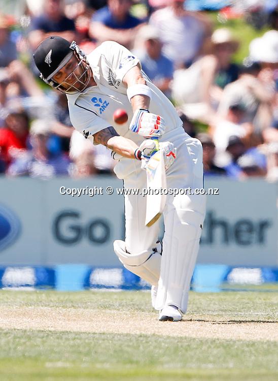 Brendon McCullum plays a shot. First day, ANZ Boxing Day Cricket Test, New Zealand Black Caps v Sri Lanka, 26 December 2014, Hagley Oval, Christchurch, New Zealand. Photo: John Cowpland / photosport.co.nz