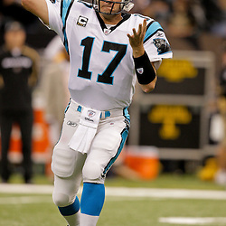 Nov 08, 2009; New Orleans, LA, USA;  Carolina Panthers quarterback Jake Delhomme (17) throws in warm ups prior to kickoff against the New Orleans Saints at the Louisiana Superdome. The Saints defeated the Panthers 30-20. Mandatory Credit: Derick E. Hingle