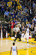 Golden State Warriors fans react to fouls call by the referees during a NBA game against the Houston Rockets at Oracle Arena in Oakland, Calif., on December 1, 2016. (Stan Olszewski/Special to S.F. Examiner)
