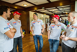 Rok Perko, Andrej Sporn, Stefan Hadalin, Miha Hrobat and Martin Cater during official presentation of the outfits of the Slovenian Ski Teams before new season 2015/16, on October 6, 2015 in Kulinarika Jezersek, Sora, Slovenia. Photo by Vid Ponikvar / Sportida