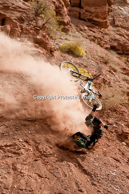 Tyler McCaul crashes at the 2010 Red Bull Rampage