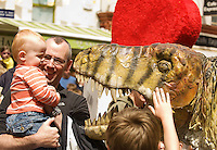 This week at the Galway Arts Festival the eye-popping visual feast that is the Dinosaur Petting Zoo is an extraordinary performance throught the streets of Galway and met Liam and Eamon Harron from Mayo. Children will got up close and personal with these amazingly life-like creatures during this fun-filled show. Photo:Andrew Downes