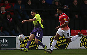 Exeter City's Randell Williams(11) and Salford City's Ibou Touray(3) during the EFL Sky Bet League 2 match between Salford City and Exeter City at the Peninsula Stadium, Salford, United Kingdom on 14 December 2019.
