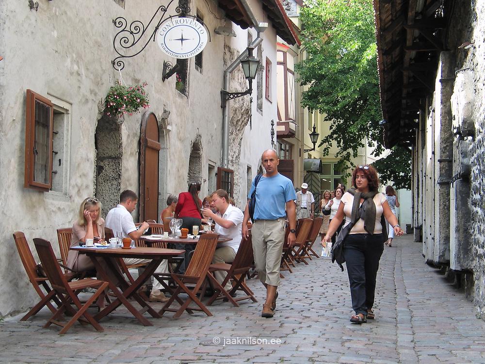 People Sitting in Open-Air Street Cafe in Old Tallinn, Eastonia