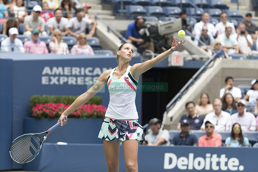 August 31, 2017 - New York, New York, United States - Karolina Pliskova of Czech Republic serves during match against Nicole Gibbs of USA at US Open Championships at Billie Jean King National Tennis Center  (Credit Image: © Lev Radin/Pacific Press via ZUMA Wire)