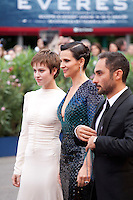 Actress Lou de Laage,  actress Juliette Binoche, director Piero Messina at the gala screening for the film L'attesa at the 72nd Venice Film Festival, Saturday September 5th 2015, Venice Lido, Italy.