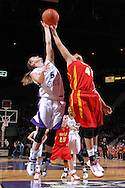 Kansas State guard Shalee Lehning (5) and Iowa State's Toccara Ross (41) reach for a rebound, during second half action at Bramlage Coliseum in Manhattan, Kansas, February 24, 2007.  Iowa State beat Kansas State 64-61.