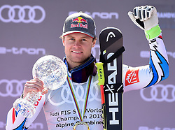 14.03.2019, Soldeu, AND, FIS Weltcup Ski Alpin, alpine Kombination, Herren, Siegerehrung, Weltcupwertung, im Bild Alexis Pinturault (FRA, zweiter Platz Gesamtweltcup,erster Platz Kobination Weltcup und dritter Platz Riesenslalom Weltcup) // Winner of the Combined World Cup second place Overal World Cup and third place Giant Slalom World Cup Alexis Pinturault of France during the winner ceremony for the men's alpine combination Worldcup rating of FIS Ski Alpine World Cup finals. Soldeu, Andorra on 2019/03/14. EXPA Pictures © 2019, PhotoCredit: EXPA/ Erich Spiess