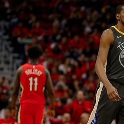 May 4, 2018; New Orleans, LA, USA; Golden State Warriors forward Kevin Durant (35) walks off the court following a timeout during the third quarter in game three of the second round of the 2018 NBA Playoffs against the New Orleans Pelicans at the Smoothie King Center. The Pelicans defeated the Warriors 119-100.  Mandatory Credit: Derick E. Hingle-USA TODAY Sports