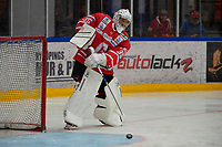2019-08-14 | Nyköping, Sweden: Nyköping SK (35) Daniel Fahlström during the game between Nyköping SK and Södertälje SK at Nyköping Arena ( Photo by: Simon Holmgren | Swe Press Photo )<br /> <br /> Keywords: Nyköping Arena, Nyköping, Ice hockey, Preseason game, Nyköping SK, Södertälje SK