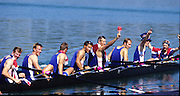 Sydney, AUSTRALIA, GBR M8+ 0n medal pontoon, after winning the gold medal in the men's eights, at the 2000 Olympic Regatta, Penrith Lakes. [Photo Peter Spurrier/Intersport Images]  [left to right]  HUNT-DAVIS, Ben, DENNIS, Simon, ATTRILL, Louis, GRUBOR, Luka, WEST, Kieran.SCARLETT, Fred, TRAPMORE Steve and cox DOUGLAS, Rowley 2000 Olympic Regatta Sydney International Regatta Centre (SIRC) 2000 Olympic Rowing Regatta00085138.tif