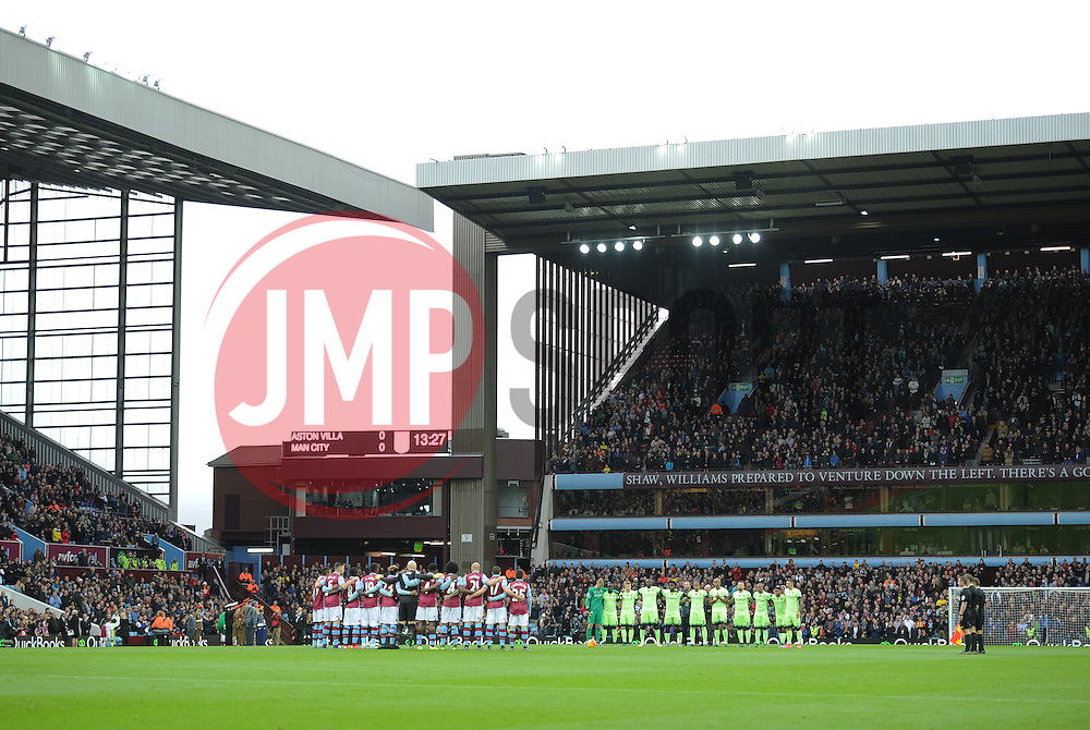 Both Teams hold a minute silence for remembrance day.- Mandatory byline: Alex James/JMP - 07966 386802 - 08/11/2015 - FOOTBALL - Villa Park - Birmingham, England - Aston Villa v Manchester City - Barclays Premier League