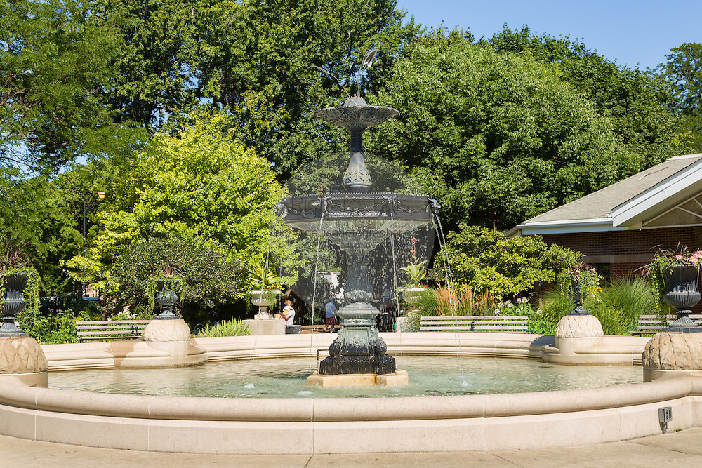 Fountain in Wicker Park neighborhood in the West Town community in Chicago, Illinois, USA
