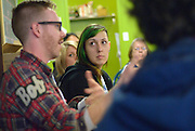 """Michelle Soulliere, Cultural Animator, Arts Council Windsor and Region, listens during the """"Artist and Workers: Commnity Discussion""""  event at Windsor Workers' Education Centre during MayWorks Windsor 2014."""