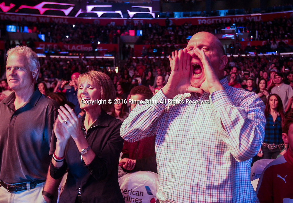 Los Angeles Clippers owner Steve Ballmer shouts during an NBA basketball game against Charlotte Hornets in Los Angeles, the United States, Jan. 9, 2016. Los Angeles Clippers won 97-83. (Xinhua/Zhao Hanrong)(Photo by Ringo Chiu/PHOTOFORMULA.com)<br /> <br /> Usage Notes: This content is intended for editorial use only. For other uses, additional clearances may be required.