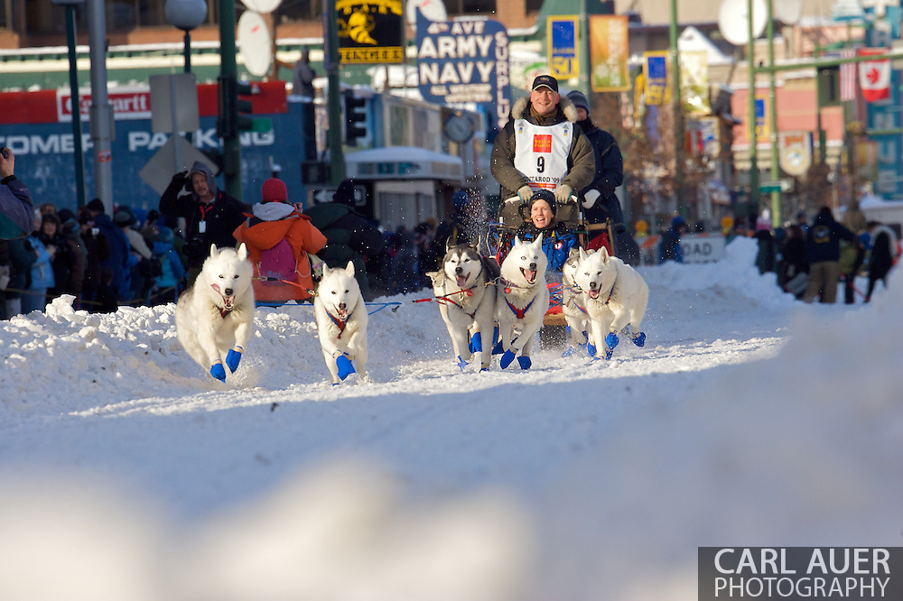 March 7th, 2009:  Anchorage, Alaska: Dave Matray of Two Rivers, Alaska at the start of the 2009 Iditarod race.