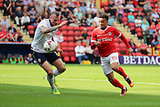 Charlton Athletic forward Nicky Ajose (10) chasing the ball during the EFL Sky Bet Championship match between Charlton Athletic and Bolton Wanderers at The Valley, London, England on 27 August 2016. Photo by Matthew Redman.