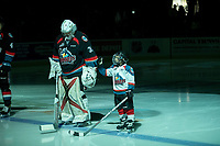 KELOWNA, CANADA - OCTOBER 4: The Pepsi player lines up next to Brodan Salmond #31 of the Kelowna Rockets against the Victoria Royals on October 4, 2017 at Prospera Place in Kelowna, British Columbia, Canada.  (Photo by Marissa Baecker/Shoot the Breeze)  *** Local Caption ***
