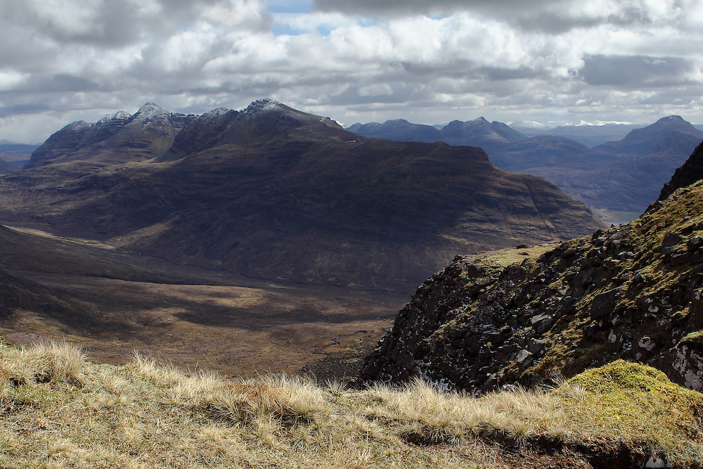 View from the saddle between Tom na Gruagaich and Sgurr Mor, the munro peaks of Beinn Alligin, near Torridon in the north-west Highlands of Scotland